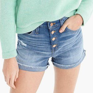 NWT J. Crew High Rise Button Fly Jean Shorts 31